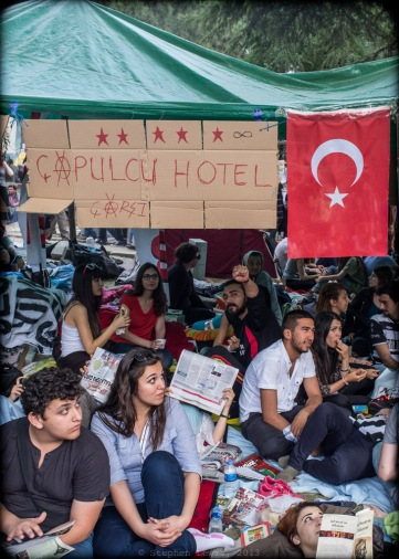 Occupiers, Gezi Square, Istanbul, two weeks ago. Çapulcu = Terrorist/Freebooter, a phrase used by the Turkish Prime Minister to describe the occupiers and adopted by the occupiers themselves toungue-in-cheek. (FujiX100)