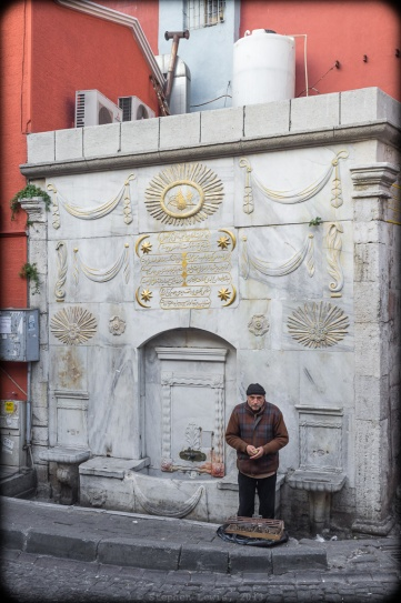A vendor of parakeets dwarfed by a late-Ottoman fountain, vicinity of Gedik Paşa Caddesi, Istanbul, 2012. (Fuji X100) Click to enlarge.