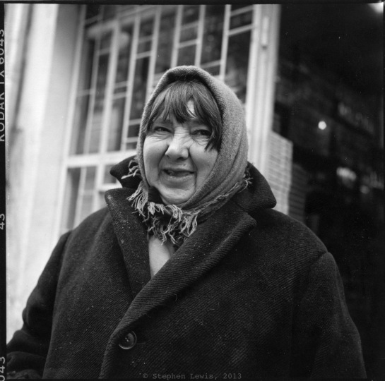 "A Portrait: The late ""Belleto,"" cardboard box scavenger, Women's Market, Sofia, Bulgaria, winter 1997-8. (Rolleiflex Tessar f3.5, Tri-X 400 ASA, scan from print) Click to enlarge."