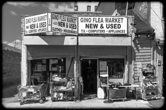 Gino Flea Market, New & Used, West 168th Street, Bronx, New York, 2012. (Fuji X100) Click to enlarge