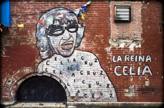 """La Reina."" The Queen of Latin Music, Celia Cruz.  Wall painting, low-100s between Lexington and Third, Manhattan, 2012. (Fuji X100). Click to enlarge."