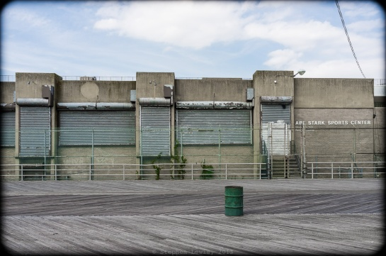 Shuttered monument to a forgotten Brooklyn politician: Abe Stark Sport Center, Boardwalk, Coney Island-Brighton Beach, 2011. (Fuji X100)