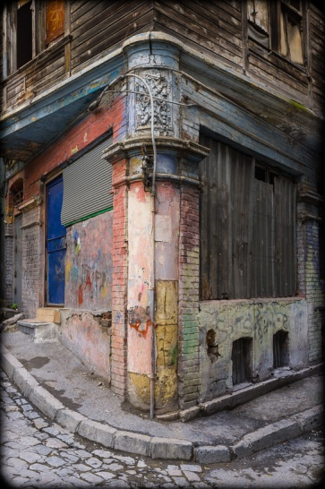 Former storefront, ground-floor of an abandoned late19th-century Greek-style apartment house,  Tahtakale, Eminönü, Istanbul, 2012.  (Fuji X100). Click to enlarge.