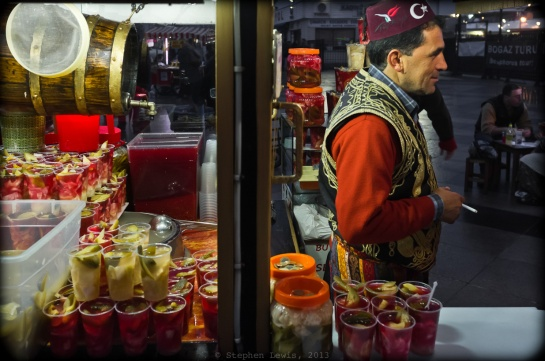 Pickle and pickle-juice vendor with stand prepared for the evening's trade, Eminönü, Istanbul, 2012. (Fuji X100). Click to enlarge.