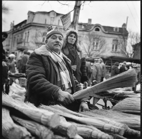 "Broom sellers, ""Women's"" Market, Sofia, Bulgaria, 1997. (Rolleiflex Tessar 𝘧3.5, Tri-X 400ASA, scan of print.)  Click to enlarge."