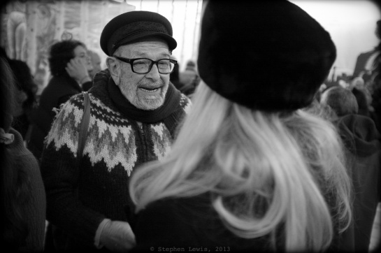 "One-time cineast and eternal charmeur Doncho Papasov earned his eternal right to a ""Greek fisherman's"" hat by actually having once sailed solo around the world.  The faux-fur ""kalpak"" atop the head of blonde hair in the foreground added a ""Ninotchka""-like touch of nostalgia and elegance. (FujiX100, specs as per above.) Click in photo to enlarge."