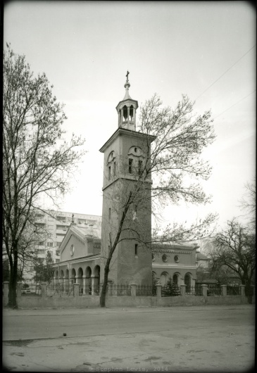 Church of St. James the Martyr, Poduyane Quarter, Sofia, Bulgaria, late-1990s. (Toyo field camera, 6x9cm back, 55mm Rodenstock lens, b/w negative, scan of print). Click on image to enlarge.