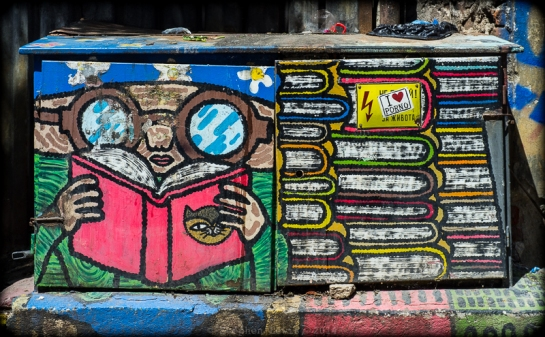Graffito on telephone junction box, Sofia, Bulgaria, 2014. Fuji X100. Click on image to enlarge.