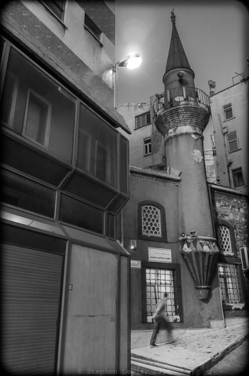 Mosque of Şaban Kaptan, side street, Şişhane quarter, Istanbul, 2012. Fuji X100. Click on image to enlarge.