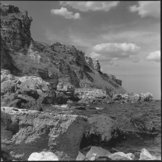 Cliffs and Sea, western coast of the Black Sea near the village of Kamen Bryag, northeast Bulgaria, late-1990s.  Rolleiflex Tessar ƒ3.5, scan of print.