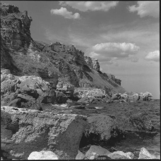 Cliffs and Sea, western coast of the Black Sea near the village of Kamen Bryag, northeast Bulgaria, late-1990s.  Rolleiflex Tessar ƒ3.5, scan of print.
