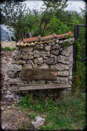Roadside bench, village of Kamen Bryag, Bulgarian Black Sea Coast, 2014. Fuji X100 with +1.4 tele adapter. Click on image to enlarge.