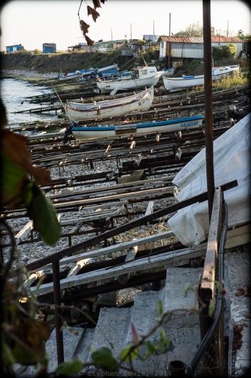 "Boat-launching, fishermen's shanties, Shabla Lighthouse, Bulgarian Black Sea Coast, 2014. Fuji X100, +1.4x, ""50mm"" tele-converter. Click to enlarge."