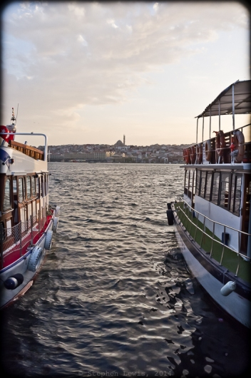 The Golden Horn from the boat dock at Kasımpaşa. In the background, the Mosque of Sultan Selim Yavuz, 2012. Fuji X100. Click on image to enlarge.